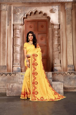 Yellow embroidered faux silk saree with blouse