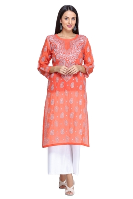 Ada Hand Embroidered Rust Cotton Lucknowi Chikan Kurti     A373587