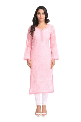 Ada Hand Embroidered Pink Cotton Lucknowi Chikan Kurti-A269980