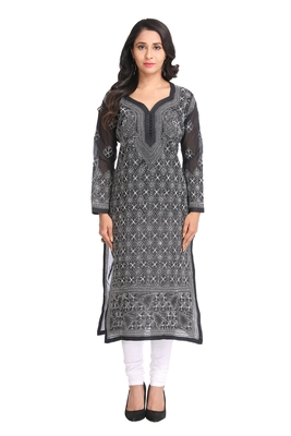 Ada Hand Embroidered Black Cotton Lucknow Chikan Kurti- A280911