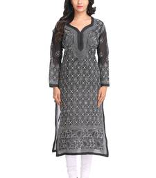 Ada Hand Embroidered Black Cotton Lucknow Chikan Kurti A280911