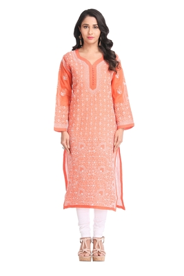 Ada Hand Embroidered Rust Cotton Lucknow Chikan Kurti  A325761