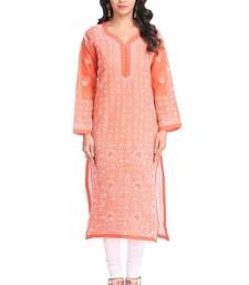 Ada Hand Embroidered Rust Cotton Lucknow Chikan Kurti- A325761
