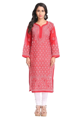 Ada Hand Embroidered Maroon Cotton Lucknow Chikan Kurti- A339566