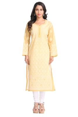 Ada Hand Embroidered Fawn Cotton Lucknowi Chikan Kurti-A346938