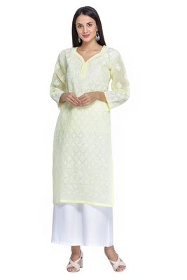 Ada Hand Embroidered Lemon Cotton Lucknowi Chikan Kurti-A270059