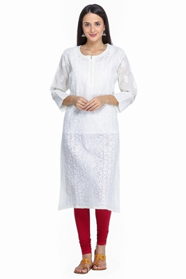 Ada Hand Embroidered Lemon Pure Cotton Lucknowi Chikan Kurti
