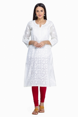 Ada Hand Embroidered Lemon Cotton Lucknow Chikankari Kurti -A252017