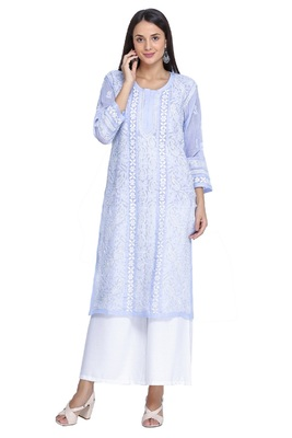 Ada Hand Embroidered Mauve Cotton Lucknow Chikan Kurti-A306985
