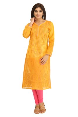 Ada Hand Embroidered Mustard Cotton Lucknow Chikan Kurti- A284557