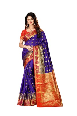 Purple woven cotton poly saree with blouse