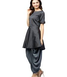 Inddus Grey Tafeta Self Design Dhoti Kurta Set