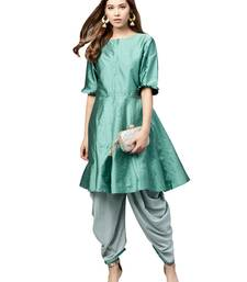 Inddus Green Tafeta Self Design Dhoti Kurta Set