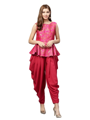 Inddus Pink Brocade Self Design Dhoti Kurta Set