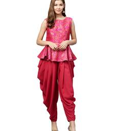 Inddus Pink Brocade Self Design Dhoti Kurta Set