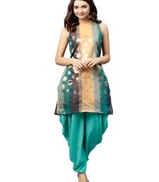 Inddus Gold Chanderi Cotton Woven Dhoti Kurta Set