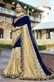 cf4eeb0643732 Blue embroidered georgette saree with blouse