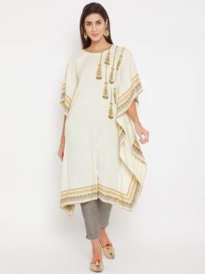Off white embroidered cotton kurti