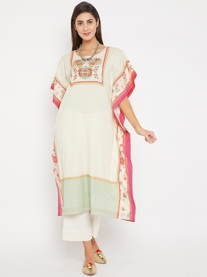 Off white embroidered cotton kurti