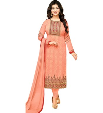 1d1f8e1007 Peach Georgette Printed & Embroidered Women's Salwar Suit - Mf Next ...