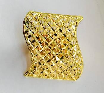 Big Gold Plated Finger Ring, Adjustable Size