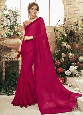 Dark pink plain georgette saree with blouse