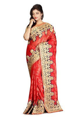 Peach Embroidered   Brasso Saree With Blouse