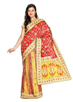 Multicolor Embroidered   Raw Silk Saree With Blouse