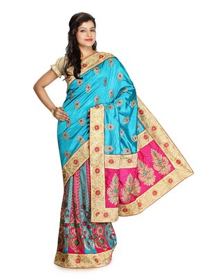 Rani pink embroidered  raw silk saree with blouse
