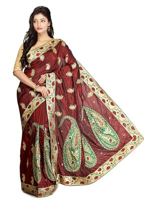 Maroon embroidered silk saree with blouse