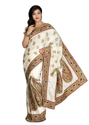 White Embroidered Silk Saree With Blouse