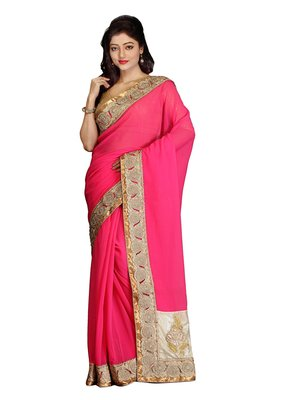 Pink Embroidered   Faux Shimmer Saree With Blouse