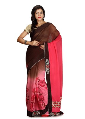 Multicolor Embroidered Viscose Saree With Blouse