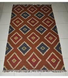 Ethinc Vintage Hademade Rug Weave Jute Dhurrie Yoga Mat Modern Carpet 98 X 60 Inches