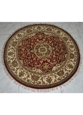 DRI00034 Traditional Hand Knotted Pure Wool Area Rug from Round 70 X 70 Inches Red