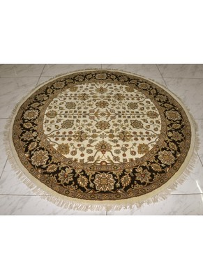 DRI00035 Traditional Hand Knotted Pure Wool Area Rug from Round 72 X 72 Inches Black