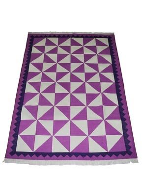 Lal Haveli Ethnic Handmade cotton Yoga Dhurrie Mat 4 X 6 Feet
