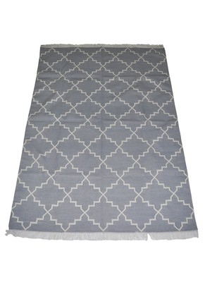 Lal Haveli Handmade cotton Dhurrie for Home Decorative Grey Color 4 X 6 Feet