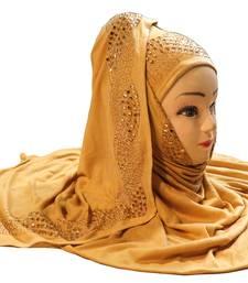 Beige Color Diamond Stone Work Hosiery Soft Cotton Hijab Scarf Dupatta