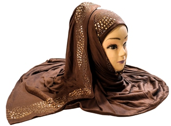 Brown Color Diamond Stone Work Hosiery Soft Cotton Hijab Scarf Dupatta