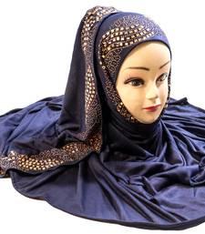DarkBlue Color Diamond Stone Work Hosiery Soft Cotton Hijab Scarf Dupatta