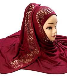 Maroon Color Diamond Stone Work Hosiery Soft Cotton Hijab Scarf Dupatta