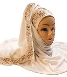 White Color Diamond Stone Work Hosiery Soft Cotton Hijab Scarf Dupatta