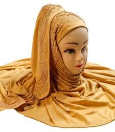 Beige Color Pearl & Diamond Stone Work Hosiery Soft Cotton Hijab Scarf Dupatta