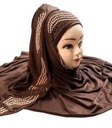 Coffee Color Pearl & Diamond Stone Work Hosiery Soft Cotton Hijab Scarf Dupatta