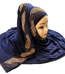 DarkBlue Color Pearl & Diamond Stone Work Hosiery Soft Cotton Hijab Scarf Dupatta