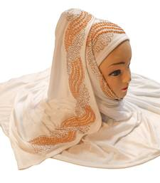 White Color Pearl & Diamond Stone Work Hosiery Soft Cotton Hijab Scarf Dupatta