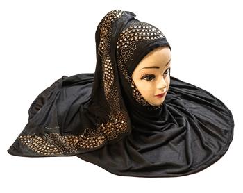 Black Color Diamond Stone Work Hosiery Soft Cotton Hijab Scarf Dupatta