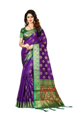Purple woven saree with blouse