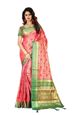 Baby pink woven saree with blouse